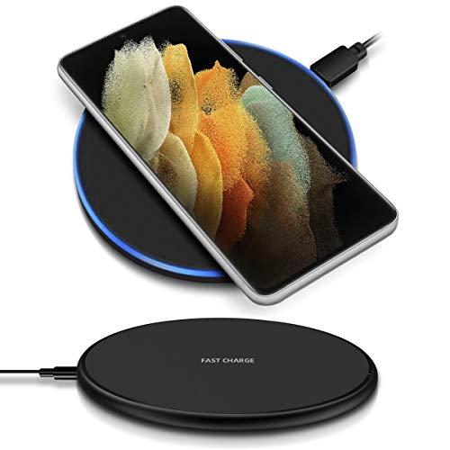 NAUC QI Wireless Ladestation kompatibel für Samsung Galaxy S21 Ultra 5G Kabellos Charger Induktives Universal Schnellladegerät, Farben:Schwarz