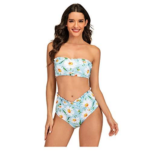 IHEHUA Bikinis Damen Bademode Zweiteilige Bandeau Bikinioberteil Rückenfrei High Waist Sexy Drucken mit Gepolsterter Badeanzüge Schwimmanzug Beachwear(Blau,XL)