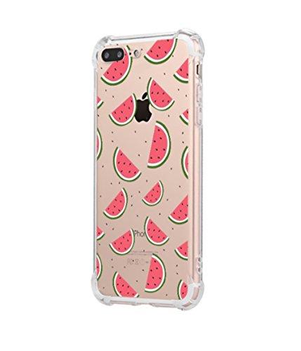 Freessom Coque iPhone 6/6s Silicone Basteque Fruit Kawaii Transparente Motif Retro Dessin Couleur avec La Pomme Souple Anti Choc Fantaisie Cover Protection Cadeau Pas Cher
