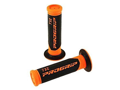 Poignées PROGRIP 732 - Noir/Orange - Dirt Bike