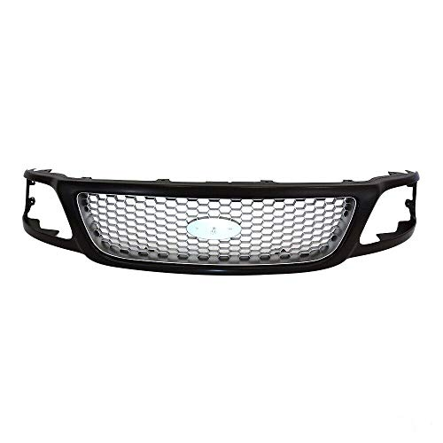 Front GRILLE Yudeng compatible with Yudeng compatible withd 1999-03 F-150 2004 F-150 Heritage 1999 F-250 BLACK/SILVER