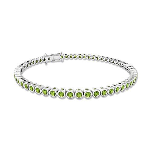 2.8 CT SGL Certified Peridot Round Tennis Bracelet, Bezel Set Gemstone Bridesmaid Wedding Charm Bracelet, Mothers August Birthstone Statement Bracelet, 18K White Gold 6.5 Inches