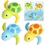Toddmomy 3 Piezas Juguetes de Baño para Bebés Juguetes de Tortuga de Cuerda Juguetes de Bañera de Agua Flotante Tortuga de Plástico Swinmming Jugando Juguetes de Agua para Niños Pequeños