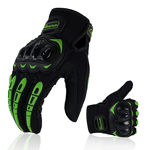 ARTOP Motorradhandschuhe Touch Screen Anti-Rutsch Anti-Kollision Motorrad Handschuhe Sehr Guter Schutz für Herren(Grün, L)
