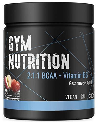 BCAA PULVER + VITAMIN B6 – Höchste Dosierung der Amino-Säuren Leucin, Isoleucin und Valin im Verhältnis 2:1:1 - Vegan und hochdosiert - APFEL