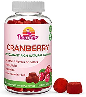 Flamingo Supplements – Cranberry Gummy Supplement for Women, Men, and Kids. Vegetarian, No Gluten, Gelatin or GMO. Kosher and Halal. 60 Count