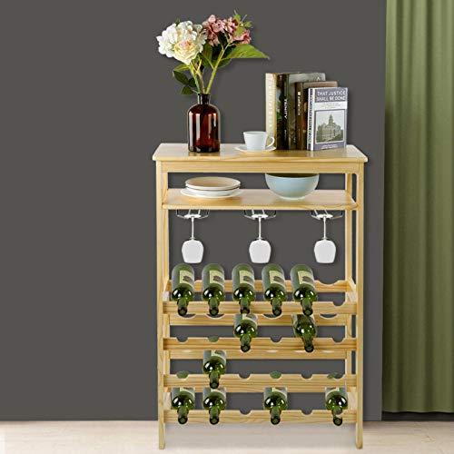 Estante de vino de moda 100 x 66 x 29 cm Muebles para el hogar Mueble para vino duradero de 6 capas de bambú para el hogar