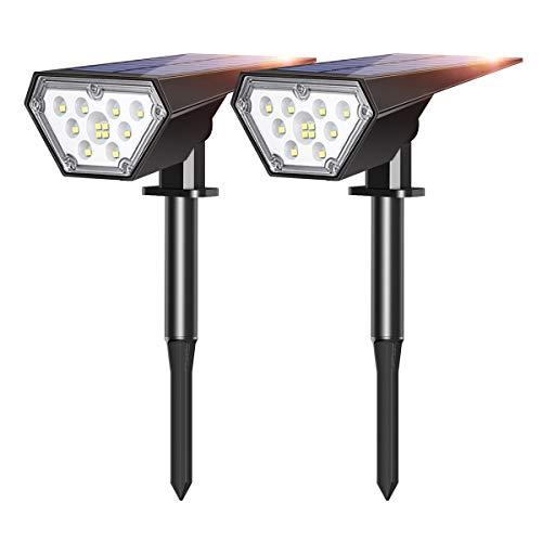 Luces Solares Exterior Jardin, Riapow 12 LED Impermeable IP67 Inalámbrico con 2 Modos de iluminación Lamparas Solares para Piscina Cesped Jardín Patio Jardín Calzada Porche Pasarela (2 Paquetes)