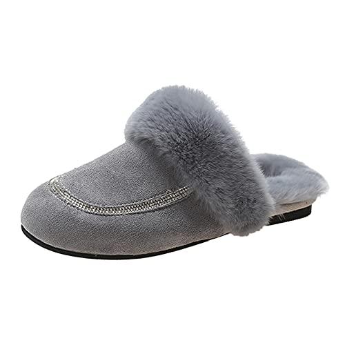 URIBAKY - Zapatillas de exterior para mujer, transpirables, color puro, antideslizantes, para interior y exterior, cálidas, de peluche, gris, 38 EU