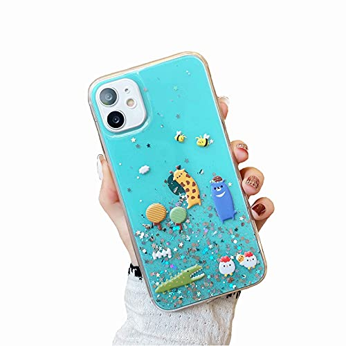 Miagon Glitter Cover for Samsung Galaxy S21 Fe,Soft Slim Silicone Protective Cute Clear Sparkly Bling Star Bumper Case for Girls Women,Forest Animal Green