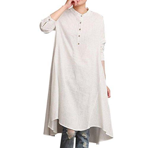 TOPUNDER Womens Kaftan Cotton Tops Linen Long Sleeve Shirt Loose Blouse Baggy Pullover White