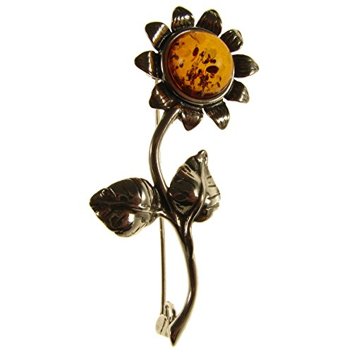 SA Brooches Baltic Amber and Sterling Silver 925 Cognac Sunflower Brooch pin Jewellery Jewelry