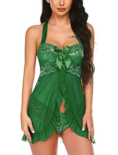 Avidlove Women Lingerie Lace Babydoll V Neck Sleepwear Strap Chemise Green Lingerie