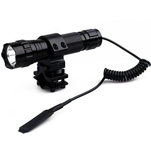 """Windfire táctico impermeable linterna T6 LED 1000 lm 1 modo recargable lámpara de caza linterna con interruptor de presión y 1 """"barril soporte para riel Picatinny Quad Rail Rifle (batería no incluida)"""