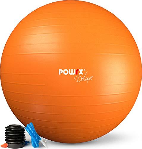 POWRX Pelota de Ejercicio 75 cm - Balón Ideal para Gimnasia, Yoga y Pilates - Anti-explosión con hinchador Incluido + PDF Workout (Orange)