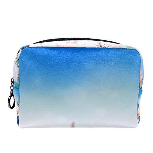 Bolsa de cosméticos Bolsa de Maquillaje para Mujer para Viajar para Llevar cosméticos, Cambio, Llaves, etc. Art Flower Butterfly Colorful