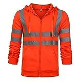 Kaiki Herren Männer Jacke Bomber Mantel Zweifärbig Reflektierendes Band Gesteppte Arbeitsjacke (Large, Orange)