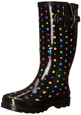 Western Chief Women's Printed Tall Waterproof Rain Boot, Ditsy Dots, 9
