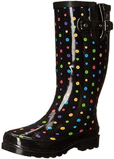 Western Chief Women's Printed Tall Waterproof Rain Boot, Ditsy Dots, 11