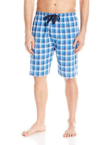 IZOD Men's Microsanded Yarn-dye Broadcloth Sleep Short, Blue/White Checkered, Small