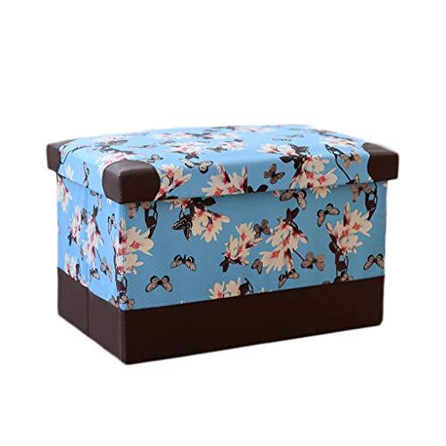 Wddwarmhome Pouf pliable en polyuréthane, boîte de rangement, articles divers pour le ménage, tabouret de rangement, charge maximale 150 kg - facile à nettoyer ( Couleur : Bleu , taille : 40*25*25cm )