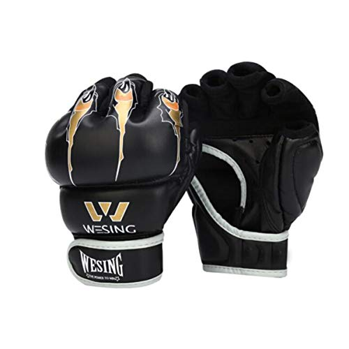 Kaiyitong Boxhandschuhe, Halbfinger-Boxhandschuhe, Erwachsene Sanda Martial Arts Fight MMA-Handschuhe, PU-Rot (EIN Paar) 6 oz (Color : Black, Weight : 7 OZ)