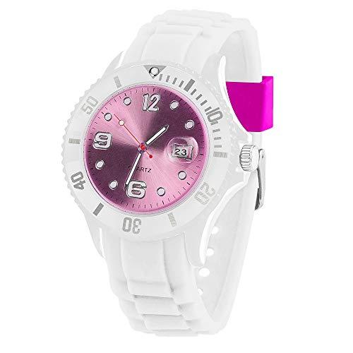 Taffstyle Damen Herren Sportuhr Armbanduhr Silikon Sport Watch Farbiges Ziffernblatt mit Datum Analog Quarz Uhr Weiß Pink