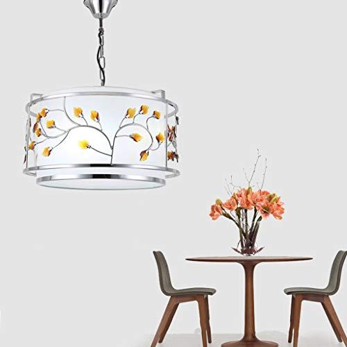 WONS American Country Dining Chandelier Flower Leaf Hierro Forjado Lámpara de Entrada Simple Lámpara de Dormitorio Sala de Estudio Lámparas de Araña