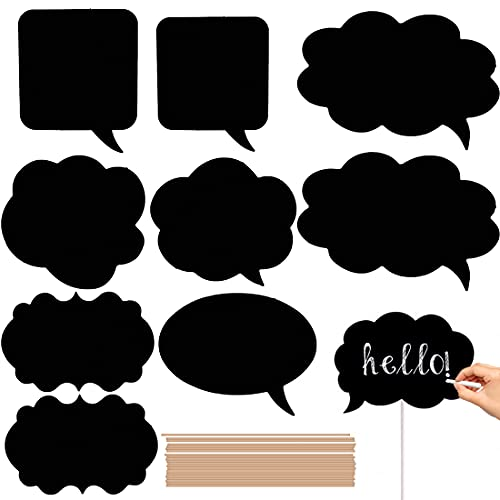 Writable Black Card Board Photo Booth Props - 20pcs Chalkboard Message Signs Funny Selfie Photo Props Party Supplies Decor