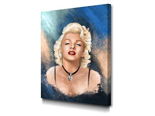 Foto Canvas Cuadro Marilyn Monroe Póster | Lienzos Decorativos - Decoración Pared - Cuadros de Salón - Arte Moderno | 30 x 40 cm sobre Bastidor de Madera Grueso Listos para Colgar