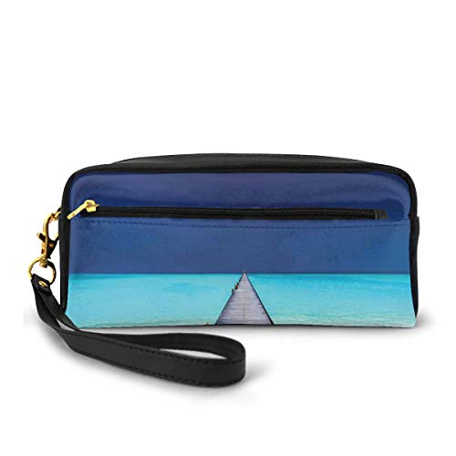 Pencil Case Pen Bag Pouch Stationary,Wooden Long Jetty Beach Sand Crystal Water Tropical Hawaiian Paradise,Small Makeup Bag Coin Purse