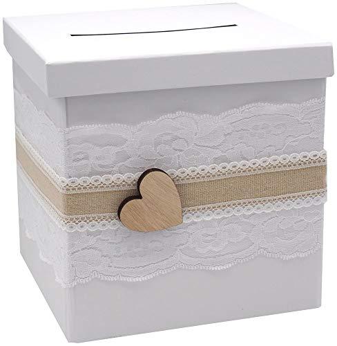 ZauberDeko Briefbox Anna Kartenbox Vintage Herz Spitze Hochzeit Geldgeschenk Weiß