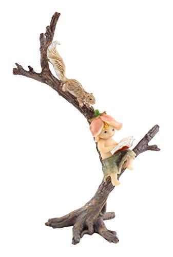 Top Collection Miniature Fairy Garden and Terrarium Garden Sprite Reading Book with Squirrel Statue