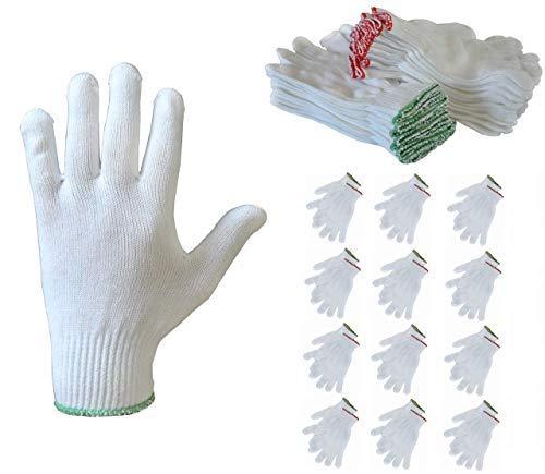 Guanti cotone dermatologici bianchi idratanti - PRODOTTI IN ITALIA - lavabili monouso comodi elastici morbidi, 12 paia di guanti per uomo, donna o bambino in tessuto di qualità, adatti a qualsiasi uso