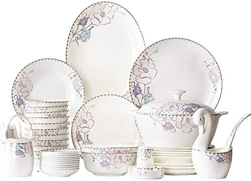 Juego de Platos, Conjunto de vajillas de cerámica con 50 Piezas, tazón/Plato/Olla de Sopa/Cuchara | Conjunto de Cena de Hueso de China, Conjunto de combinación de Porcelana de patrón de Flores p
