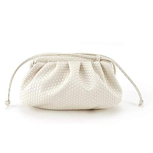 Mdsfe Bolso en la Nube para Mujer Diseñador Pequeño y Lindo Lady Crossbody Bolsos Bolsos de Embrague de día Bolsas de Mensajero de Hombro con Bola de Masa Plisada - Tejido Blanco