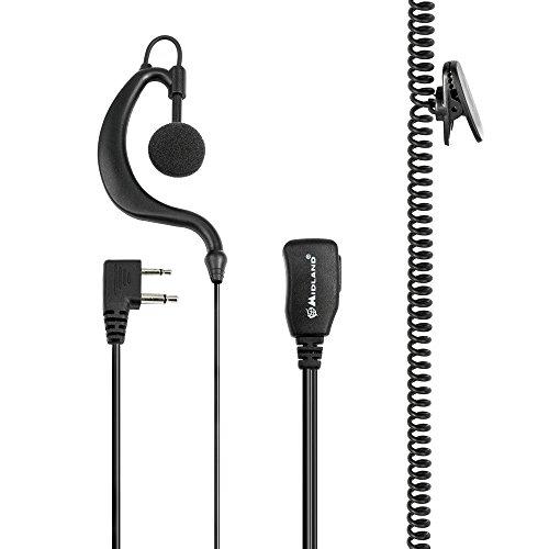 Midland C858 - Auricular con micrófono y gancho para la oreja (con PTT)