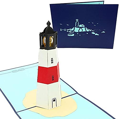 PopLife Cards Faro isla 3d popup tarjeta de felicitación para todos los viajeros de las ocasiones, amantes de la costa y la aventura pliegues planas para enviar por correo cumpleaños, día de la madre