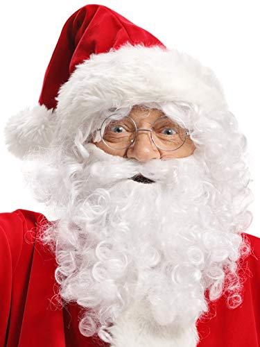 Peluca + Barba + Sombrero + Cejas + Gafas Blanco Santa Claus Santa Claus de Navidad