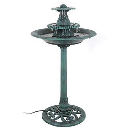 Nova Microdermabrasion 3-Tier Pedestal Bird Bath Fountain W/Pump Outdoor Garden Decor