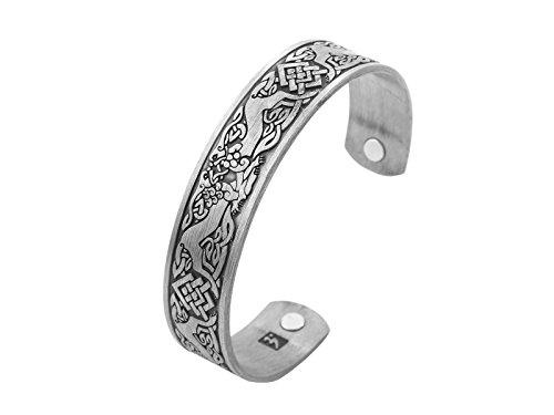 Lemegeton Wikinger Wolf und Keltischer Knoten Armband, magnetisch, Gesundheits-Manschette, Armreif für Herren