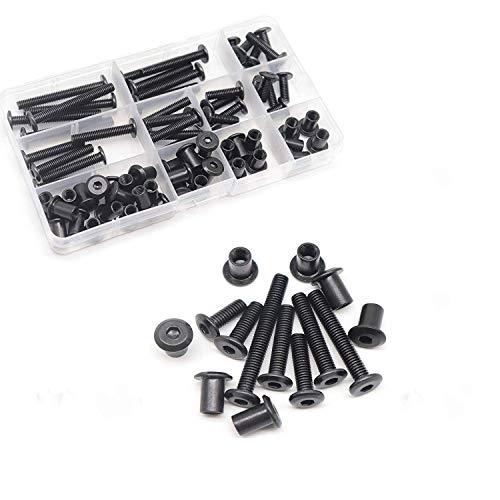 FPVKing 35-Set M6 Hex Drive Socket Cap Bolts Kit, Black Socket Cap Screws Barrel Bolts Nuts Kit for Furniture Bed Crib, M6x15mm/ 20mm/ 25mm/ 30mm/ 35mm/ 40mm/ 50mm