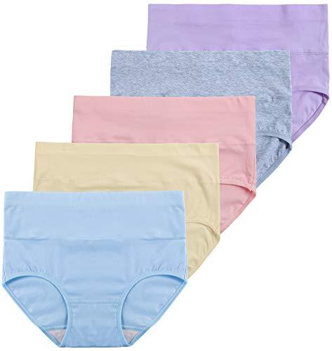 INNERSY Unterhosen Damen Baumwolle Bauchweg Unterwäsche Shaping Panties 5er Pack (44, Mehrfarbig 5)