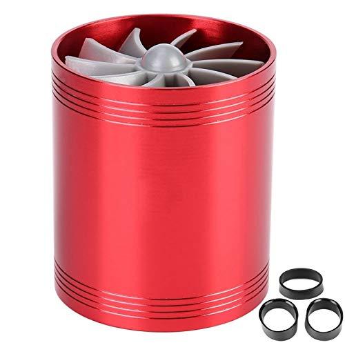 Yctze Ahorro de combustible del turbonador del automóvil, turbonador de admisión de aire Turbina de doble ventilador Supercargador Ahorro de combustible de gas Turbo Rojo