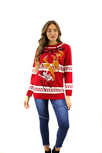 Grandma Got Run Over by a Raindeer Holiday Christmas Red Sweater (X-Large)