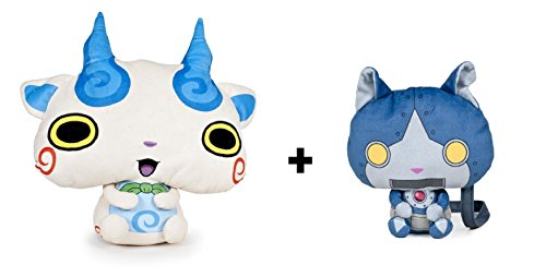 Yokai Watch - Pack 2 peluches Komasan (blanco 25cm) + bandolera Robonyan (azul 17cm) - Calidad super soft