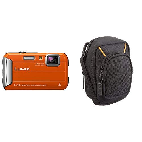 Panasonic LUMIX DMC-FT30EG-D Outdoor Kamera (16,1 Megapixel, 4X Opt, 2,6 Zoll LCD-Display, wasserdicht bis 8 m, 220 MB interne Speicher, orange) & Amazon Basics Kameratasche für Kompaktkameras, groß