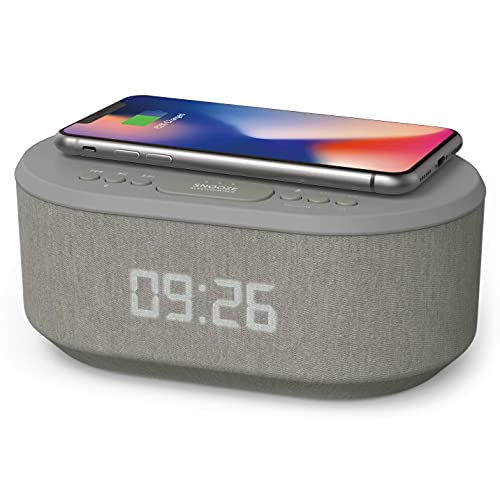 Bedside Wireless Charging Non Ticking Radio Alarm Clock with Dimmable LED Display - Mains Powered Dual Alarm Clock with USB Charger and Bluetooth Speaker