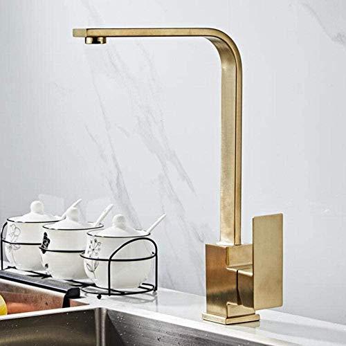 Gold Küchenarmatur Einhandküche Edelstahl heiß und kalt 360 ° drehbar Einloch Küchenarmatur
