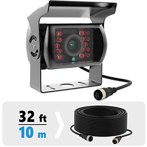 Heavy Duty Backup Camera for Trucks - 4 pin Vehicle Backup Camera - Weatherproof Rearview Camera with CMOS Sensor - Night Vision Cam for Trailer, Bus, Van with 33-ft Cable
